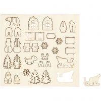 Koottavat puukuviot, joulu, Pit. 15,5 cm, Lev: 17 cm, 1 pkk