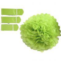 Pompomit, halk. 20+24+30 cm, 16 g, lime vihreä, 3 kpl/ 1 pkk
