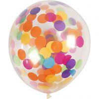 Ilmapallot konfeteilla, pyöreät, halk. 23 cm, kuulto, 4 kpl/ 1 pkk