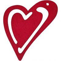 Sydän, koko 55x45 mm, tummanpinkki, 10 kpl/ 1 pkk