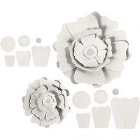 Paperikukat, halk. 15+25 cm, 230 g, valkoinen, 2 kpl/ 1 pkk