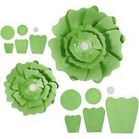 Paperikukat, halk. 15+25 cm, 230 g, vihreä, 2 kpl/ 1 pkk