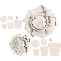 Paperikukat, halk. 15+25 cm, 230 g, luonnonvalkonen, 2 kpl/ 1 pkk