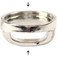 Cabochon-linkki, halk. 15 mm, aukon koko 3x10 mm, hopeanväriset, 25 kpl/ 1 pkk