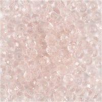 Fasettihiotut lasihelmet, halk. 4 mm, aukon koko 1 mm, vaaleanrosa, 45 kpl/ 1 lanka