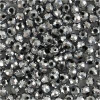 Fasettihiotut lasihelmet, koko 3x4 mm, aukon koko 0,8 mm, metallic harmaa, 100 kpl/ 1 pkk