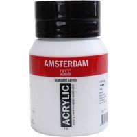 Amsterdam- akryylimaali, läpikuulto, Zinc white, 500 ml/ 1 pll