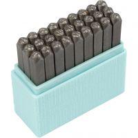 Pakotusleimasin (punsseli), isot kirjaimet, koko 3 mm, Fontti: Bridgette  , 27 kpl/ 1 set