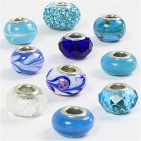 Lasirondellit, halk. 13-15 mm, aukon koko 4,5-5 mm, siniset sävyt, 10 laj/ 1 pkk