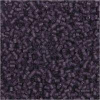 Siemenhelmet, Putki, halk. 1,7 mm, koko 15/0 , aukon koko 0,5 mm, huurteinen lila, 25 g/ 1 pkk