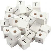 Kirjainhelmi, T, koko 8x8 mm, aukon koko 3 mm, valkoinen, 25 kpl/ 1 pkk