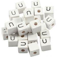 Kirjainhelmi, U, koko 8x8 mm, aukon koko 3 mm, valkoinen, 25 kpl/ 1 pkk