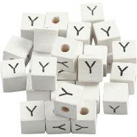 Kirjainhelmi, Y, koko 8x8 mm, aukon koko 3 mm, valkoinen, 25 kpl/ 1 pkk