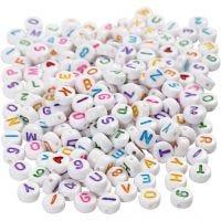 Kirjainhelmet, koko 7 mm, aukon koko 1,2 mm, valkoinen, 200 g/ 1 pkk