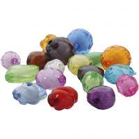 Akryylihelmet, koko 8-20 mm, aukon koko 2-3 mm, värilajitelma, 1000 g/ 1 pkk