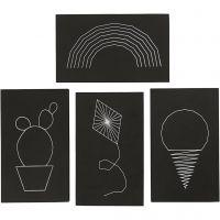 String Art, koko 20x12 cm, paksuus 10 mm, musta, 16 kpl/ 1 pkk