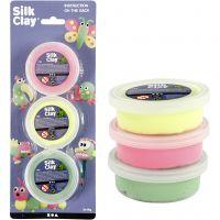 Silk Clay® silkkimassa, vaaleanvihreä, neonpinkki, neonkeltainen, 3x14 g/ 1 pkk