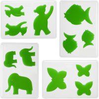 Muotit, eläimet, Kork. 6+8+10 cm, syvyys 9 mm, koko 14,9x22 cm, 4 kpl/ 1 pkk