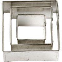 Metallimuotit, Neliöt, koko 20+30+40 mm, 3 kpl/ 1 pkk