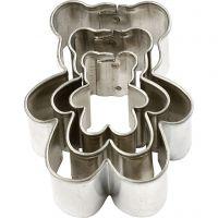 Metallimuotit, Nallet, koko 35x40 mm, 3 kpl/ 1 pkk