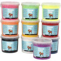 Foam Clay® Helmimassa, värilajitelma, 10x560 g/ 1 pkk