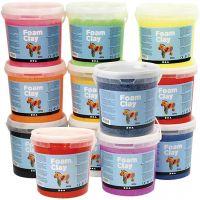 Foam Clay® Helmimassa, Lajitelman sisältö voi vaihdella , värilajitelma, 12x560 g/ 1 pkk