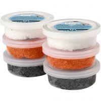 Foam Clay® Helmimassa, musta, oranssi, valkoinen, 6x14 g/ 1 pkk