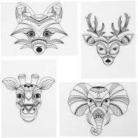 Kuvioitu kutistemuovi, villieläimet, 10,5x14,5 cm, paksuus 0,3 mm, matta läpinäkyvä, 4 ark/ 1 pkk