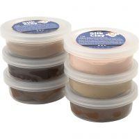Silk Clay® silkkimassa, skin colours, 6x14 g/ 1 pkk