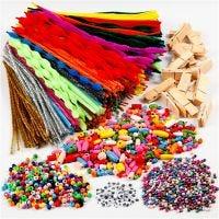Hupia pyykkipojilla ja piippurasseilla, värilajitelma, 1 set