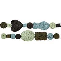 Luxury-helmilajitelma, halk. 6-37 mm, aukon koko 2 mm, vihreä/sinisävyt, 1 set