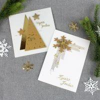 Nahkapaperikoristeita joulukorteissa