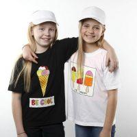 Jäätelö t-paidat kangasmaaleilla
