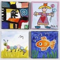 Lasimosaiikeilla koristellut maalaukset