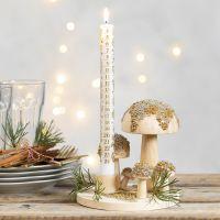 Minilasihelmillä koristeltu kynttilänjalka