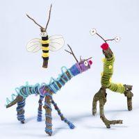Oksista, kepeistä, villalangasta ja Sticky Basesta tehdyt eläimet ja hyönteiset